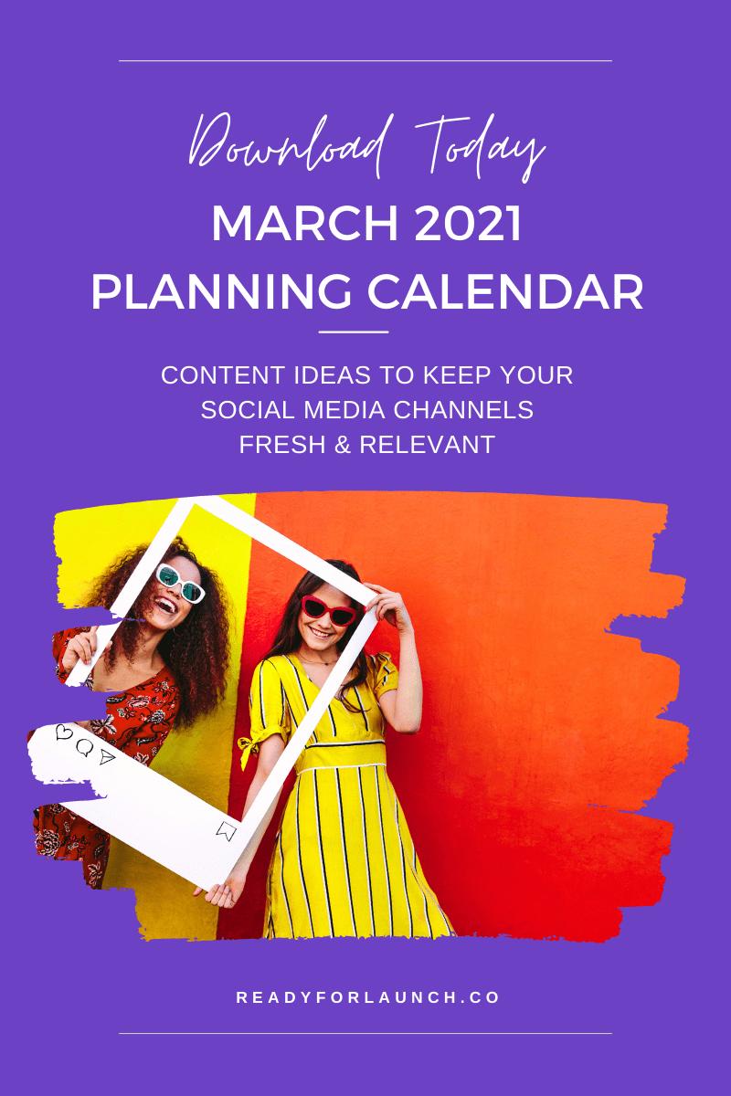march 2021 social media calendar